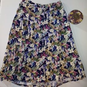 Sag Harbor Tropical Hawaiian Floral Button Skirt